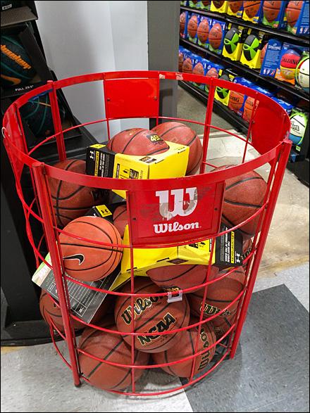 Wilson 174 Basketball Bulk Bin Fixtures Close Up Retail Pop