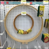 Circular Hoops Hooked on Pegboard Front