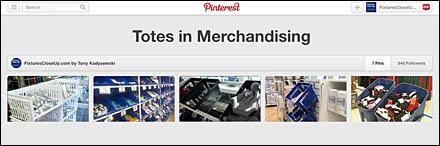 Totes in Merchandising FixturesCloseUp Pinterest Board
