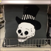 Halloween Plush Skull Fenced CloseUp