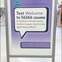 JoAnn's SM Text Welcome for Discount