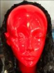 Red Headform With Winter Wrap Closeup