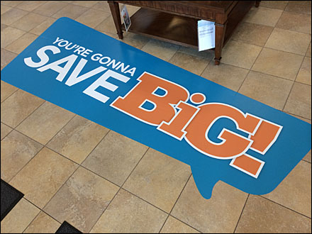 Speech Balloon Floor Graphic Saves Big