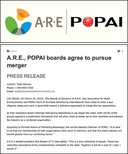 ARE - POPAI Boards Pursue Merger Main