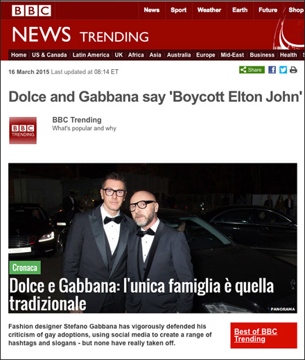 Dolce and Gabbana Boycott Elton John Courtesy of BBC