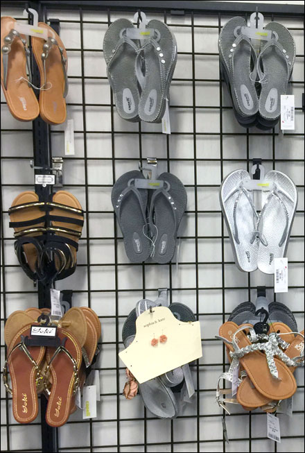 Sandals on Open Wire Grid Closeup Main
