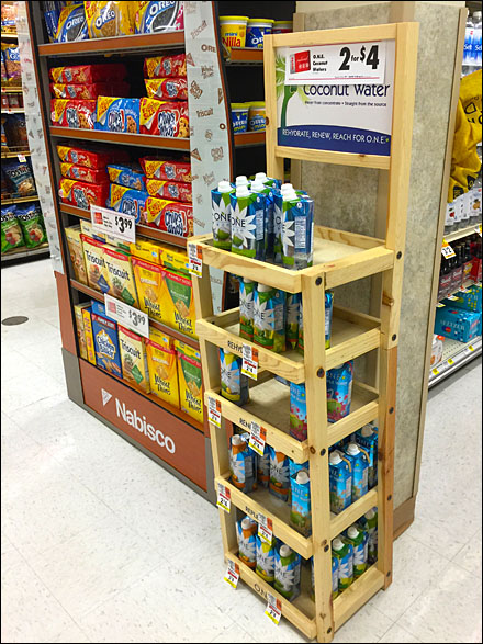 Natural Coconut Water, Natural Wood Display Overview
