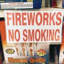 Fireworks No Smoking Sign
