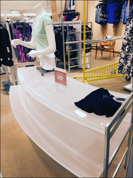 Curved Glass Table in Retail