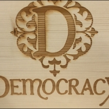 Democracy Logo Wood Burn 2