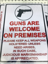 Guns Welcome on Premises Front