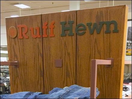 Ruff Hewn Logo on Wood Aux