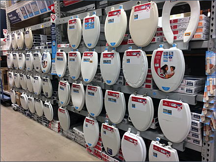 Lowes® Mass Merchandising Toilet Seats Via Pallet Rack