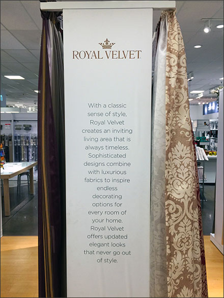 Royal Velvet Branded Backstory on Endcap