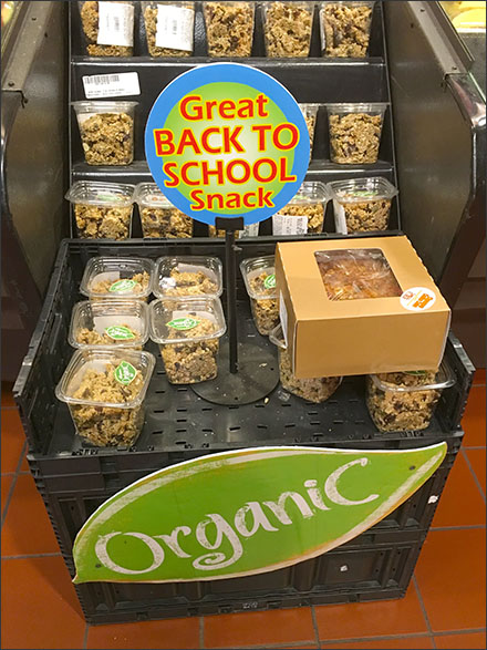Table Stand Sign Pitches Organic Snacks for School