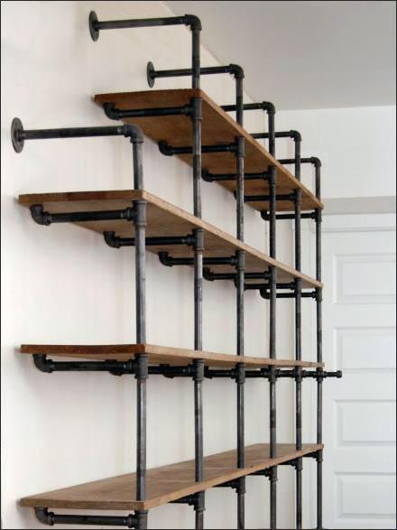 Do-It-Yourself Pipe Shelf Display CloseUp Main