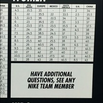 Nike International Shoe Size In-Store Chart 3