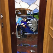 Mercedes Mens Restroom Stained Glass 1