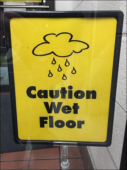 Caution Wet Floor Warning Front View