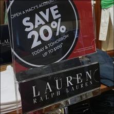 Ralph Lauren Branded Sale Sign Holders Feature