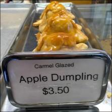 Bakery Delight Chrome Apple Dumpling Sign Holder Feature