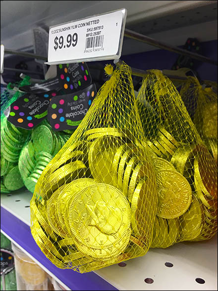 Chocolate Coin Mesh Bags Hooked Main