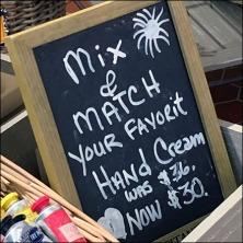 Mix N Match Hand Creme Chalkboard Feature