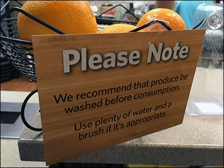 Please Note Wash Fresh Fruit Notice Main